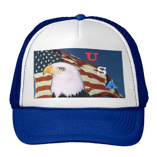 Eagle Flag, U, S, A cap Hats