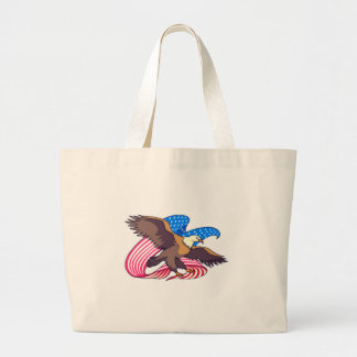 Eagle Flying Flag Large Tote Bag