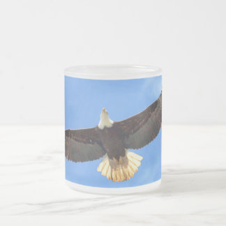 Eagle Flying Frosted Glass Coffee Mug