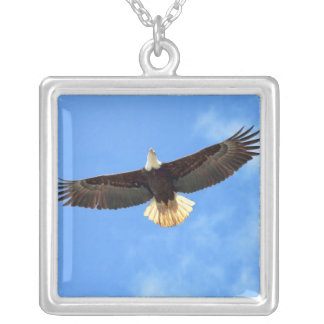 Eagle Flying Square Pendant Necklace