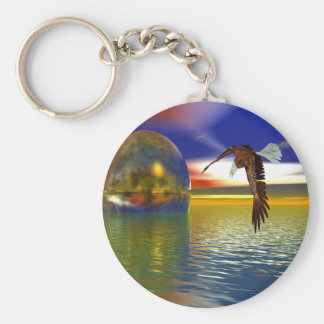 Eagle Flying over Water with Sphere, 3d Look Basic Round Button Keychain