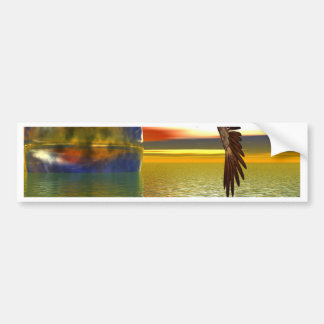 Eagle Flying over Water with Sphere, 3d Look Bumper Sticker