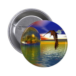 Eagle Flying over Water with Sphere, 3d Look Button