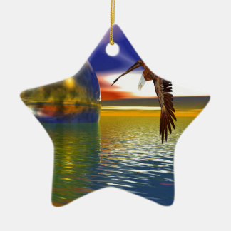 Eagle Flying over Water with Sphere, 3d Look Ceramic Ornament