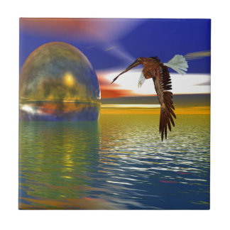 Eagle Flying over Water with Sphere, 3d Look Ceramic Tile