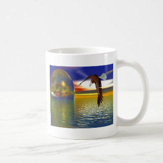 Eagle Flying over Water with Sphere, 3d Look Coffee Mug