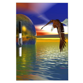 Eagle Flying over Water with Sphere, 3d Look Dry-Erase Board