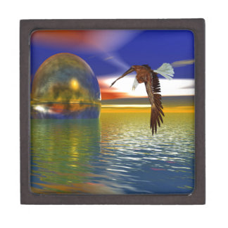 Eagle Flying over Water with Sphere, 3d Look Jewelry Box