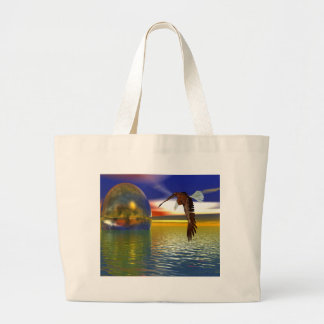 Eagle Flying over Water with Sphere, 3d Look Large Tote Bag