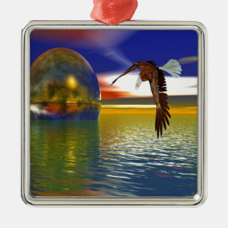 Eagle Flying over Water with Sphere, 3d Look Metal Ornament