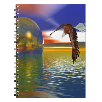 Eagle Flying over Water with Sphere, 3d Look Notebook