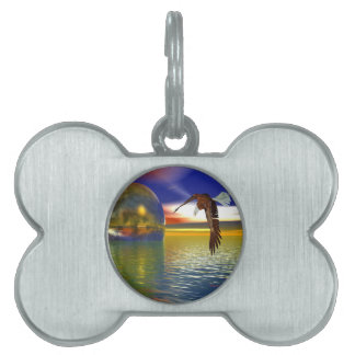 Eagle Flying over Water with Sphere, 3d Look Pet ID Tag