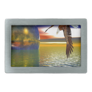 Eagle Flying over Water with Sphere, 3d Look Rectangular Belt Buckle