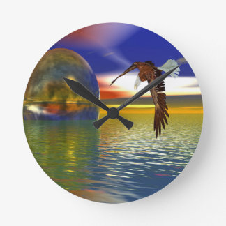Eagle Flying over Water with Sphere, 3d Look Round Clock