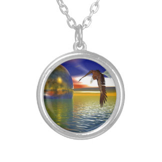 Eagle Flying over Water with Sphere, 3d Look Round Pendant Necklace