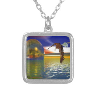 Eagle Flying over Water with Sphere, 3d Look Square Pendant Necklace