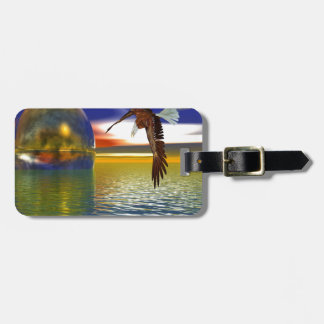 Eagle Flying over Water with Sphere, 3d Look Tag For Luggage