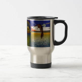 Eagle Flying over Water with Sphere, 3d Look Travel Mug