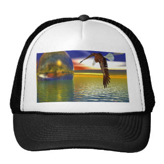 Eagle Flying over Water with Sphere, 3d Look Trucker Hat