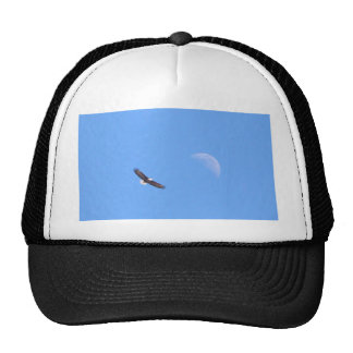 Eagle Flying to the Moon Mesh Hats