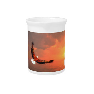 Eagle flying to the sun - 3D render Drink Pitcher