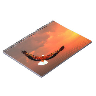 Eagle flying to the sun - 3D render Spiral Notebook