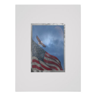 Eagle Flying with Moon and American Flag Poster