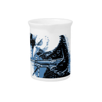 eagle forces blue with text beverage pitcher