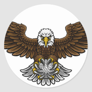 Eagle Golf Sports Mascot Classic Round Sticker