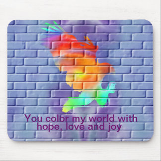 Eagle graffiti on brick wall mouse pad