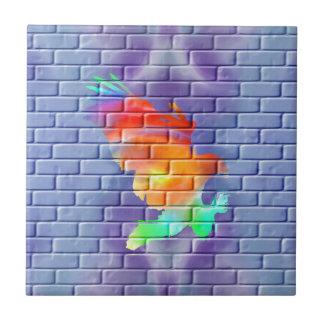 Eagle Graffiti on Brick Wall Tile
