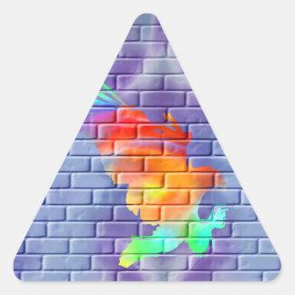 Eagle graffiti on brick wall triangle sticker
