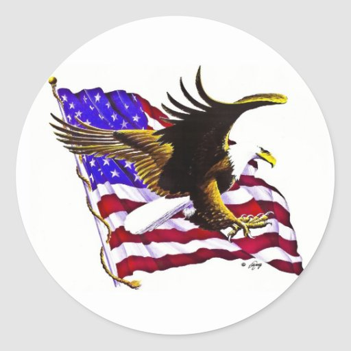 Eagle grande y bandera pegatina redonda