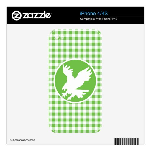 Eagle; Green Gingham Skins For The iPhone 4