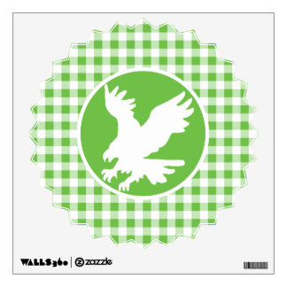 Eagle; Green Gingham Wall Decal