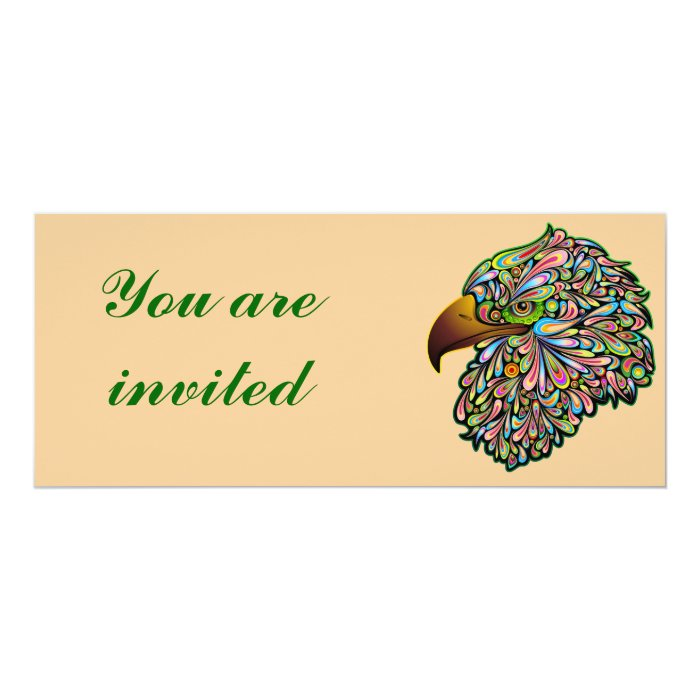 Eagle Hawk Psychedelic Design Invitation