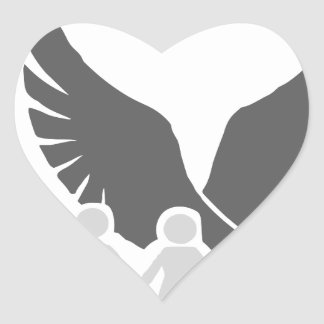 Eagle / hawk / raven / family protection 2 heart sticker