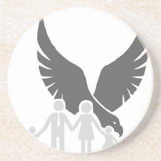 Eagle / hawk / raven / family protection 2 sandstone coaster