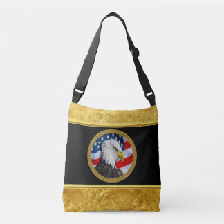 Eagle head  and a American flag gold foil design Crossbody Bag