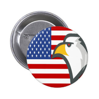 Eagle Head in front of the USA Flag Button
