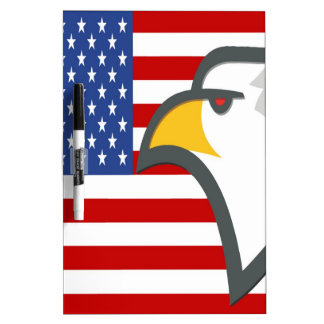 Eagle Head in front of the USA Flag Dry Erase Board