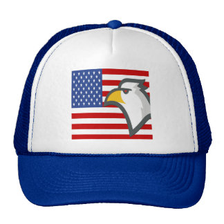 Eagle Head in front of the USA Flag Trucker Hat