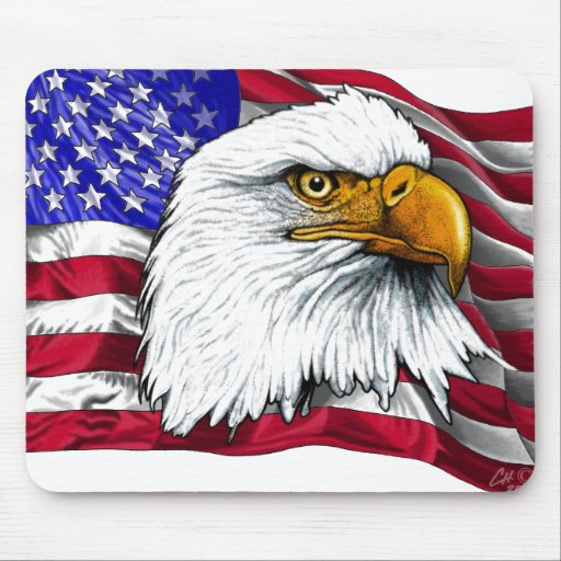 Eagle Head with Flag Mouse Mats