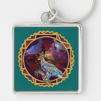 Eagle - Heavenly Wanderer № 11 Silver-Colored Square Keychain