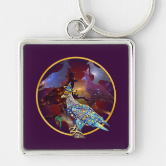Eagle - Heavenly Wanderer № 12 Silver-Colored Square Keychain
