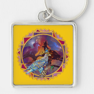 Eagle - Heavenly Wanderer № 15 Silver-Colored Square Keychain