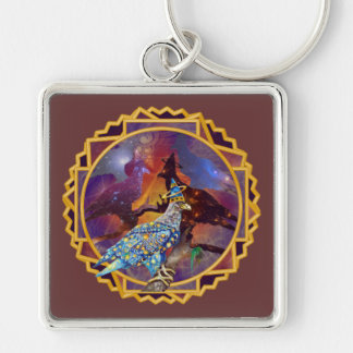 Eagle - Heavenly Wanderer № 17 Silver-Colored Square Keychain