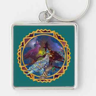 Eagle - Heavenly Wanderer № 19 Silver-Colored Square Keychain