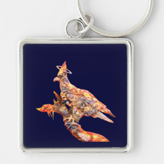 Eagle - Heavenly Wanderer № 28 Silver-Colored Square Keychain