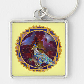 Eagle - Heavenly Wanderer № 30 Silver-Colored Square Keychain